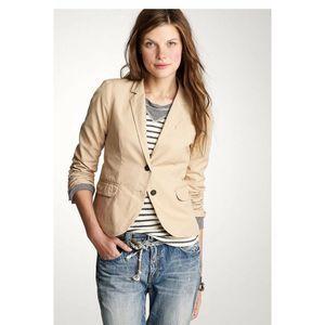 J CREW 4 Schoolboy Blazer jacket khaki Canvas Tan